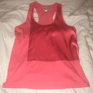 Reiss coral pink cotton and satin racer back top